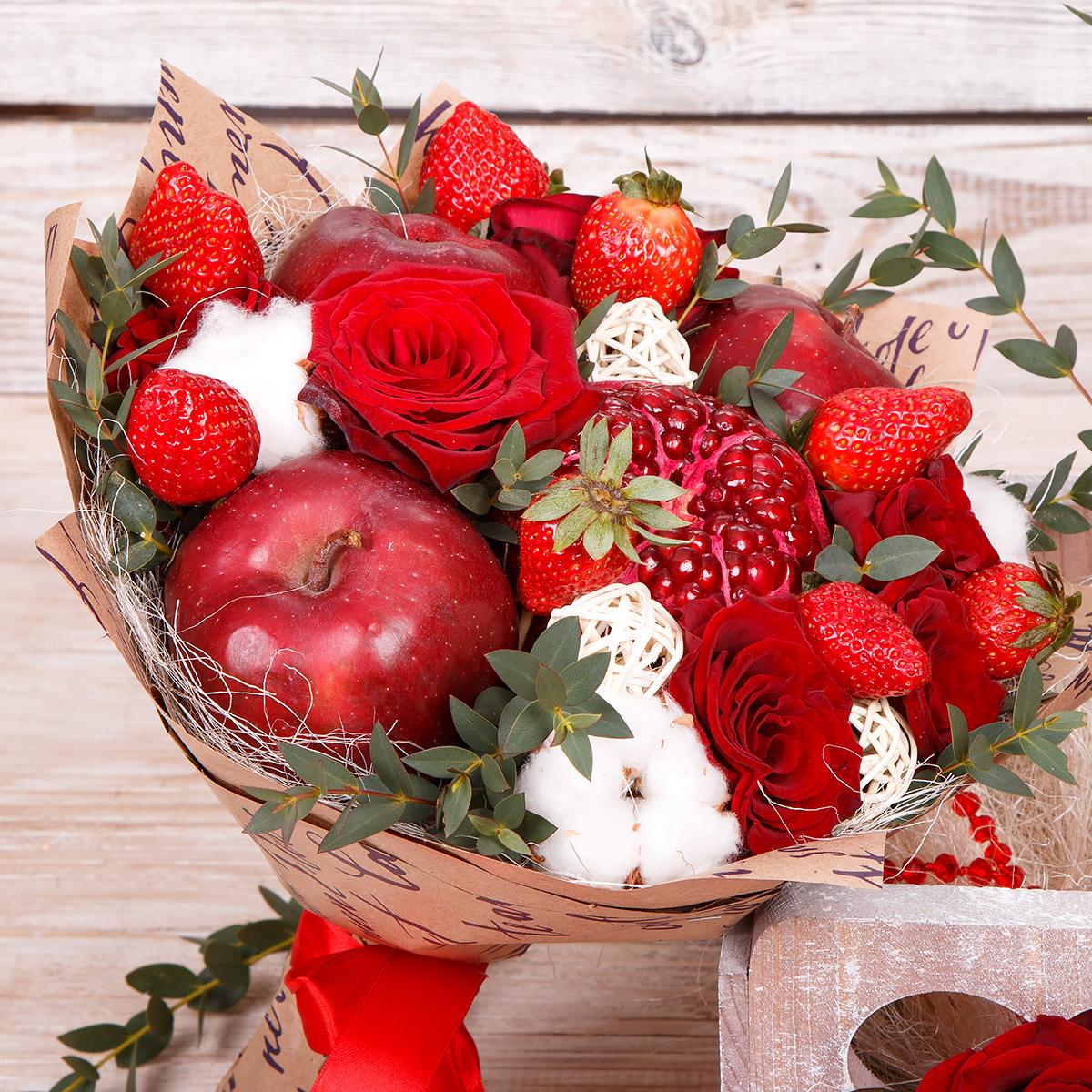 Как сделать букет из фруктов и цветов